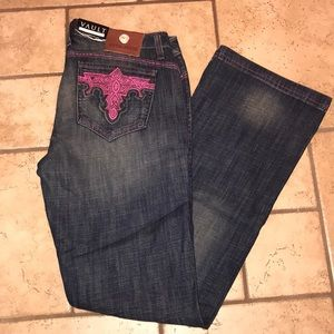 Antik Denim boot cut with Pink embroidery